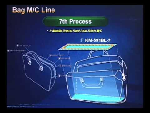 Máy may cho chuyền sản xuất balo, túi xách - sewing machines produce bags.