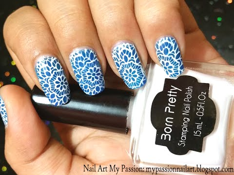 Blue Lace Nails Tutorial And Born Pretty Stamping Plate Polish Review