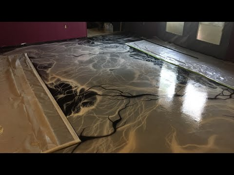 DIY..Living Room Creation; the Airbrushed Floor and 2 part Epoxy, Vid 2!!