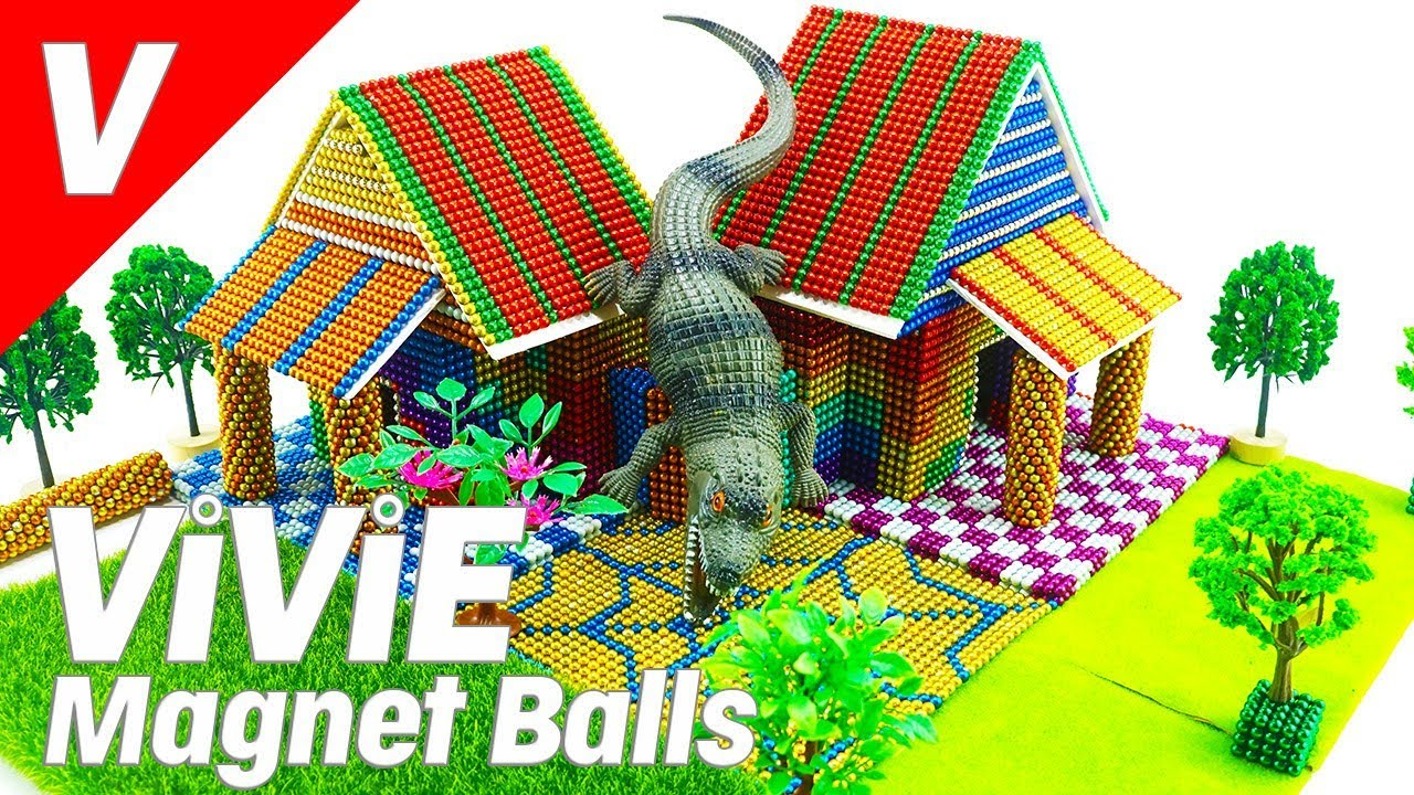 Build Mini House For Crocodile | ASMR Magnet Balls, Magnet World, Magnetic Game, Magnetic Balls