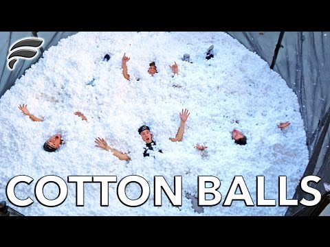 TRAMPOLINE FILLED WITH 2,000,000 COTTON BALLS!