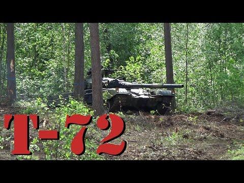 Soviet battle tank T72 in action