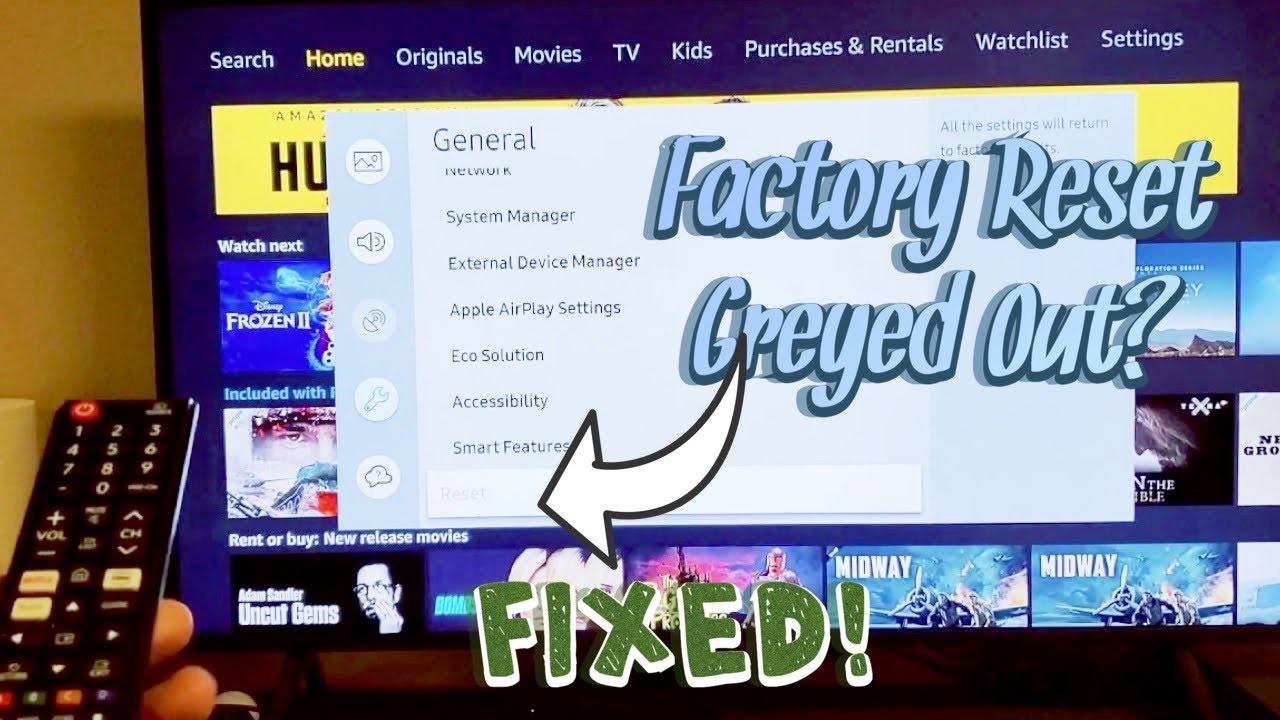 Factory Reset Is Greyed Out On Samsung Smart Tv Easy Fix Youtube
