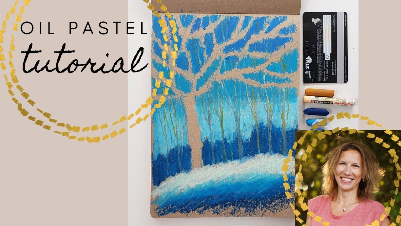 How to draw winter trees with oil pastel