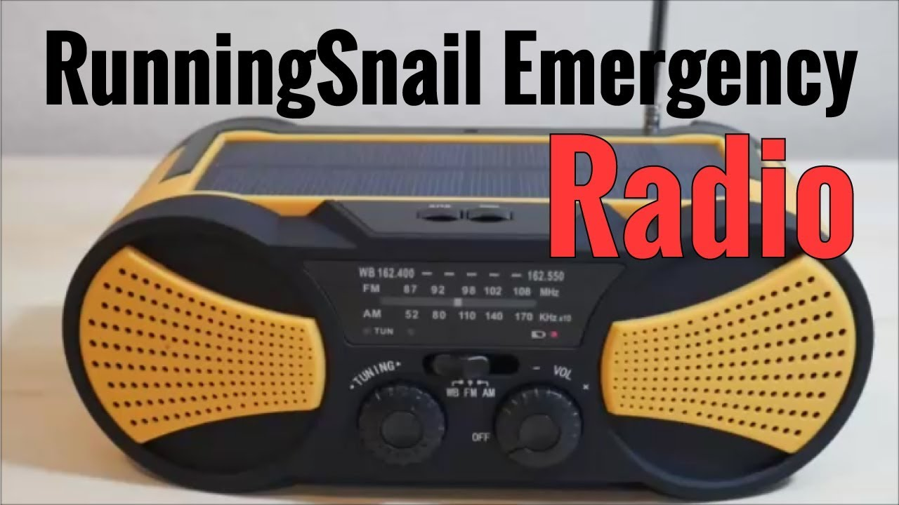 RunningSnail Emergency Solar Radio With Crank Charger SOS NOAA Weather Alerts And Flashlight