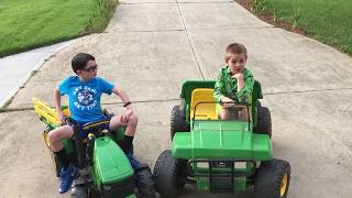 Peg Perego John Deere power wheels Review - Kids Gator and Tractor Ride-on