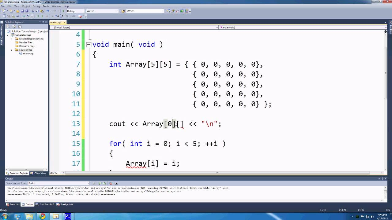 C++ for Games Lesson 8: array and 2d arrays - YouTube