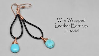 Wire Wrapped Leather Earrings Jewelry Making Tutorial