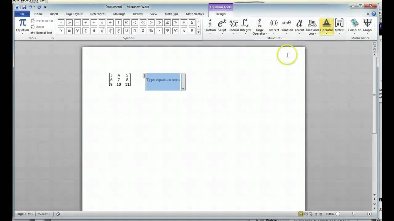 Typing Matrices Word 2010 Youtube