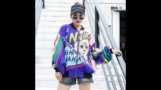 Женская куртка бомбер с принтом повседневная свободная уличная одежда в стиле хип хоп длинными