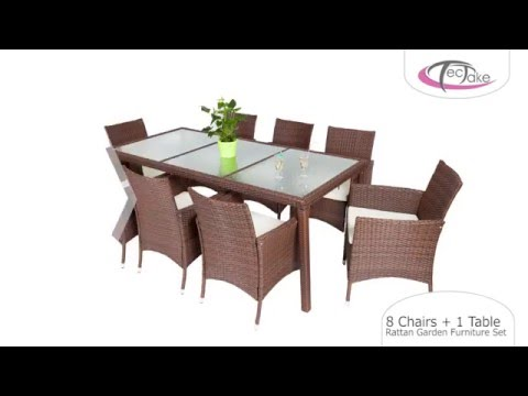TecTake - 8 Chairs + 1 Table Rattan Garden Furniture Set - YouTube