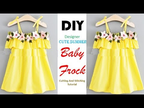 d0cef2045 DIY Cute Summer Baby Frock Cutting And Stitching Tutorial - YouTube