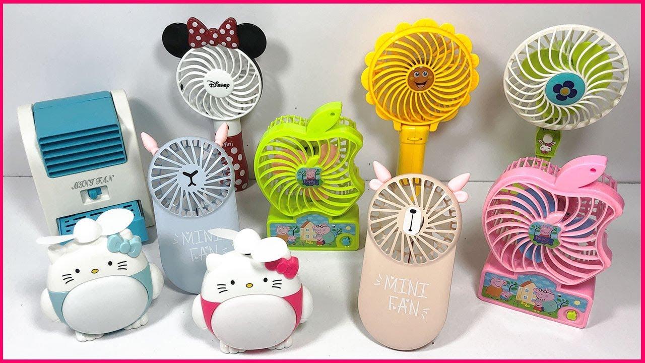 Đồ chơi trẻ em 10 mẫu quạt mini dùng pin Hello Kitty, Elsa, Minie… Toys for kids (Chim Xinh)