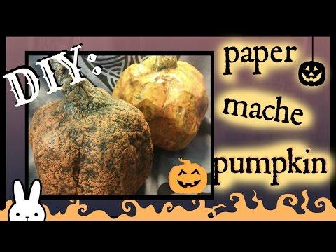 DIY : How To Make A Paper Mache Pumpkin using a plastic bottle / Tutorial/Halloween or Fall decor