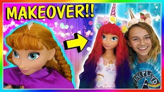 TURNING MY FROZEN DOLL INTO A UNICORN | DOLL MAKEOVER | We Are The Davises