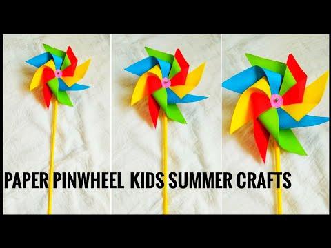 KIDS SUMMER CRAFTS SERIES #1 | PAPER ROTATING PINWHEEL/WINDMILL | EASY KIDS PAPER CRAFTS