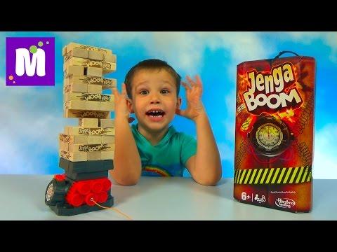 Дженга Бум играем в игру строим башню на бомбе Jenga Boom unboxing and play