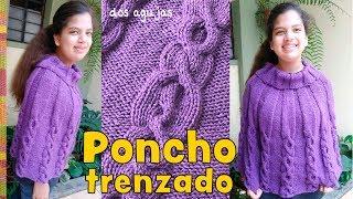 Poncho trenzado con cuello alto doblado tejido a dos agujas o palitos (3 tallas) / Tejiendo Perú