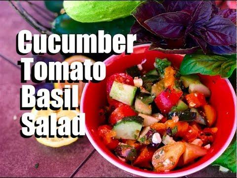 Cucumber Tomato Basil Salad - Quick and Simple // Garden to Table