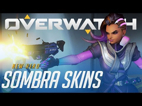 All Sombra Skins, Emotes, Highlight Intros And Voice Lines | Overwatch