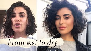 How to Style Short Curly Hair | WET TO DRY Tutorial