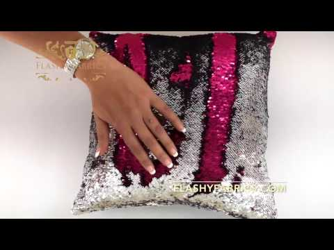 Pink and Silver Reversible Sequin mermaid pillow
