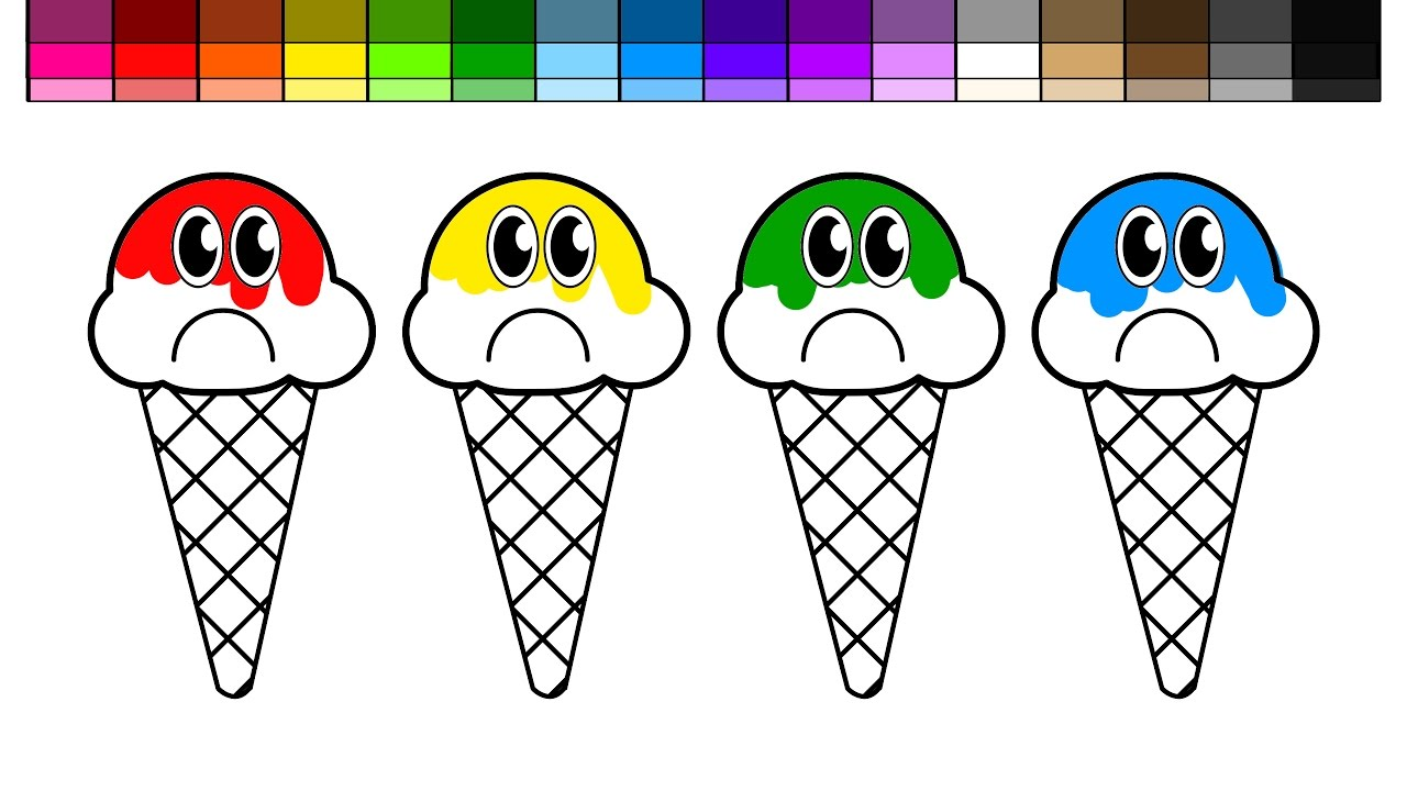 learn colors for kids and color sad ice cream coloring page youtube