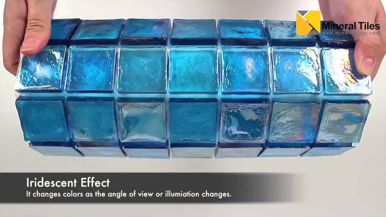 Iridescent Glass Mosaic Tile Pale Blue 2x2 - 120KELUEX2130 - YouTube