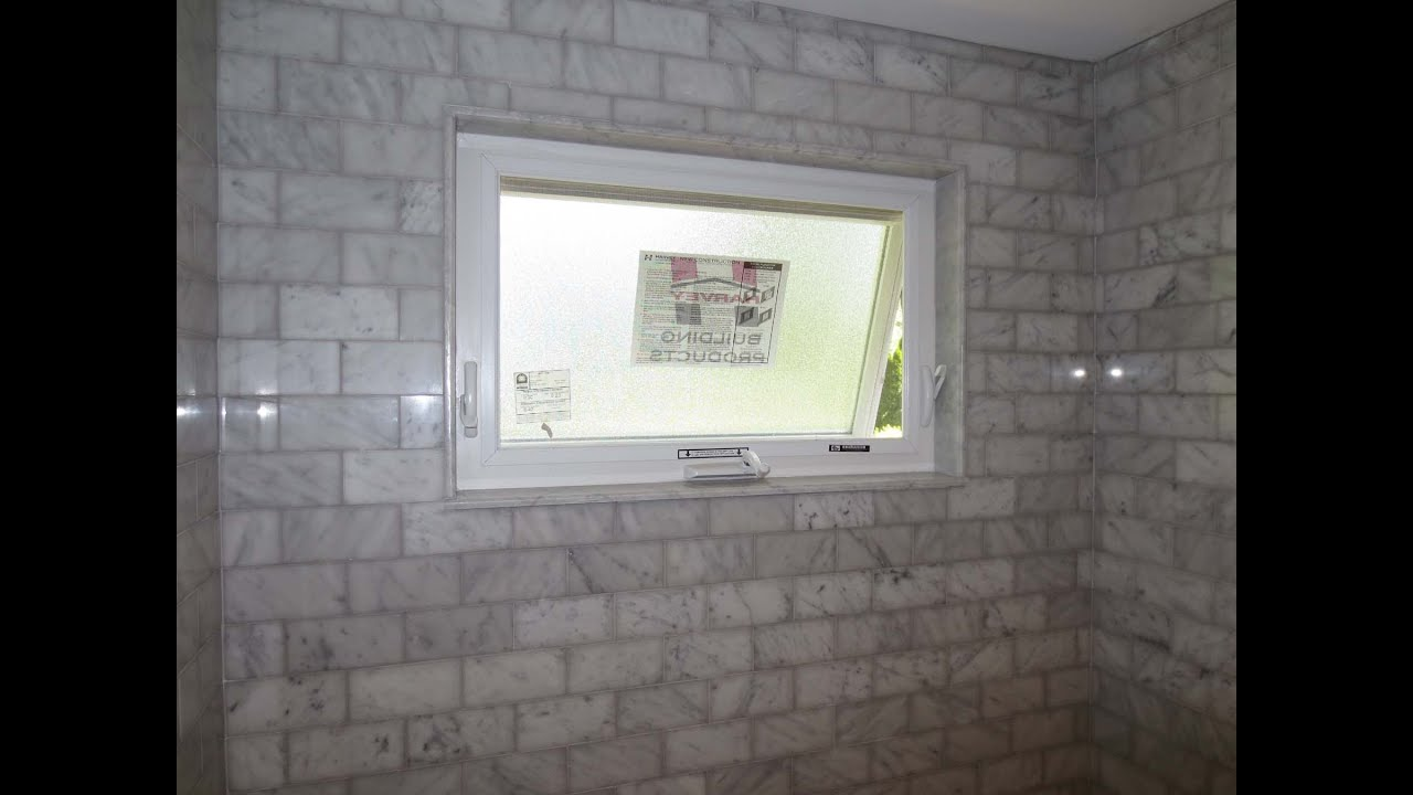 Marble subway tile tub shower area with a window - YouTube