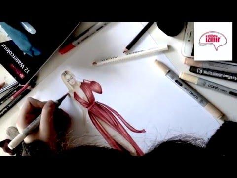 Moda Tasarım Stilistlik - Kırmızı Elbise Tasarımı