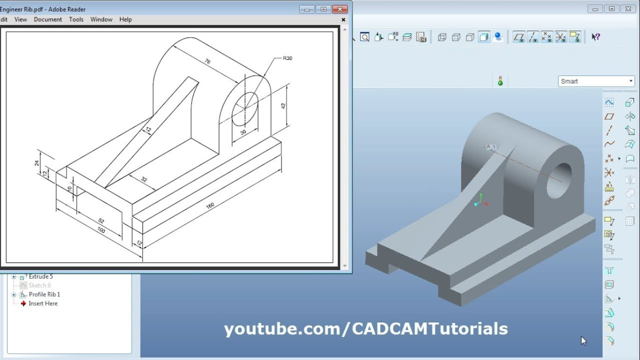 Pro Engineer Part Modeling Training Exercises for Beginners - 3 | Profile  Rib