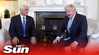 Boris Johnson jokes with Mike Pence inside No10