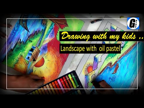 drawing and colouring a landscape with oil pastel with my kids