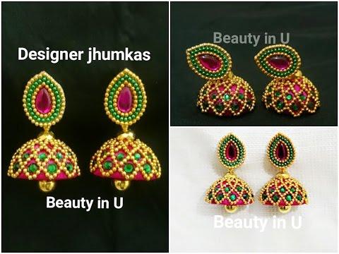 How to make Designer Silk Thread Jhumkas at Home | Bridal Jhumkas ...