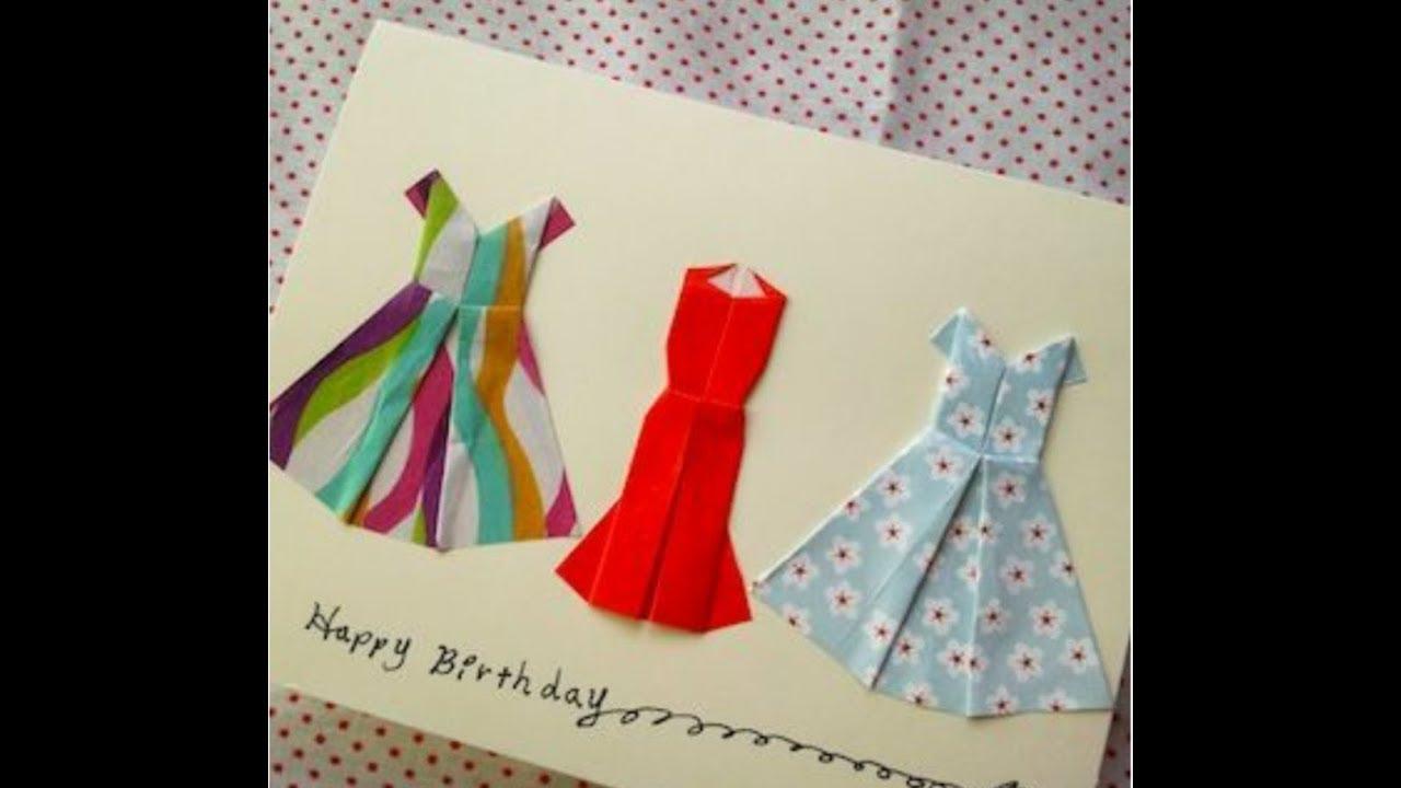 Оригами из бумаги открытка с платьем, марта сделать