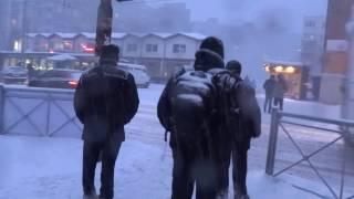 It is snowing in Kaliningrad, Russia
