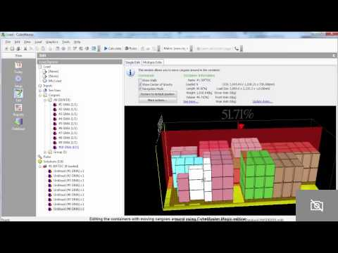 Editing the pallet loads and loading sea containers using Cu