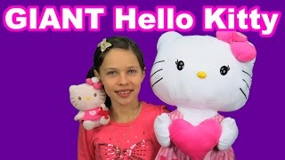 Giant Hello Kitty meets small Hello Kitty Playing having fun for kids