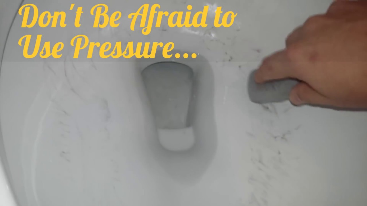 Toilet Bowl Ring Pumice Stone Cleaning Trick Test For Scratching
