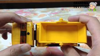 Unboxing TOYS Review/Demos - Big yellow metal die cast construction dump truck for sand dirt rocks