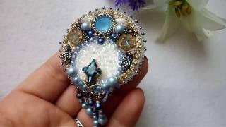 мастер-класс по вышивке броши бисером и кристаллами swarovski