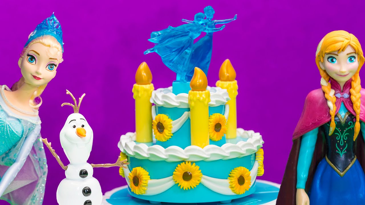 Unboxing Frozen Fever Elsa and Annas Birthday Cake Play set YouTube