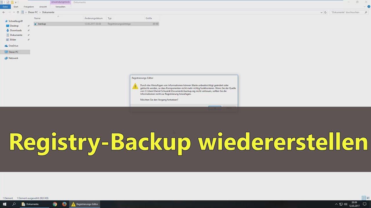 Windows 10 Registry Backup Wiederherstellen Youtube