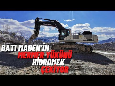 BATI MADEN'İN MERMER YÜKÜNÜ HİDROMEK ÇEKİYOR (MADENDE HİDROMEK'İN YERİ SAĞLAM)
