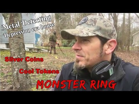 Metal Detecting depression era house - MONSTER ring , silver coins, & other goodies found