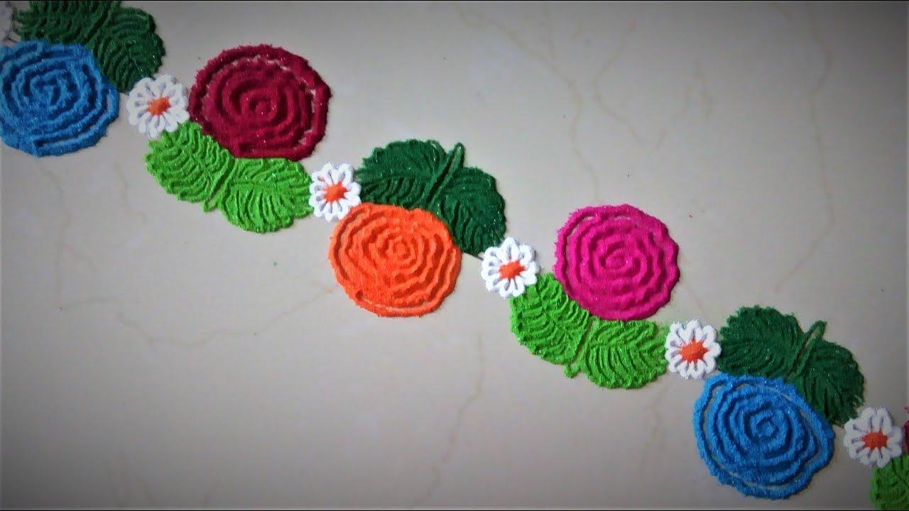 Super easy rose flower border rangoli designs easy for Door entrance rangoli designs