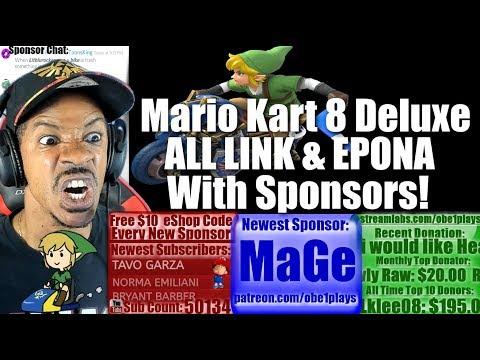 Mario Kart 8 Deluxe With Sponsors! All Link & Epona Racing! Rocket League & Splatoon 2 After!