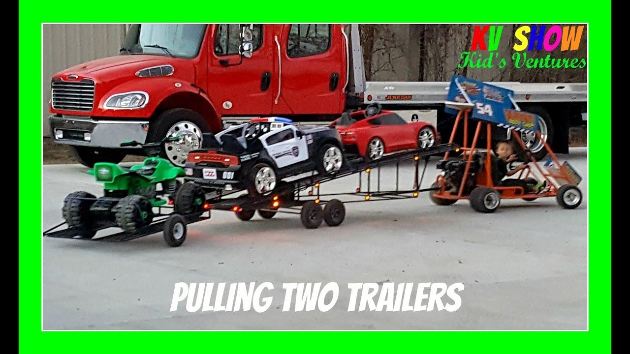 Two Wheel Dolly >> Kruz Pulling Two Trailers And Hauling Three Power Wheels ...