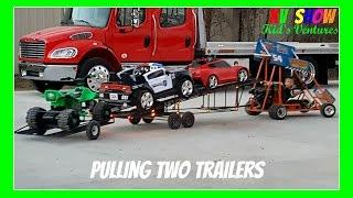 Kruz Pulling Two Trailers And Hauling Three Power Wheels Using His Racing Go Kart