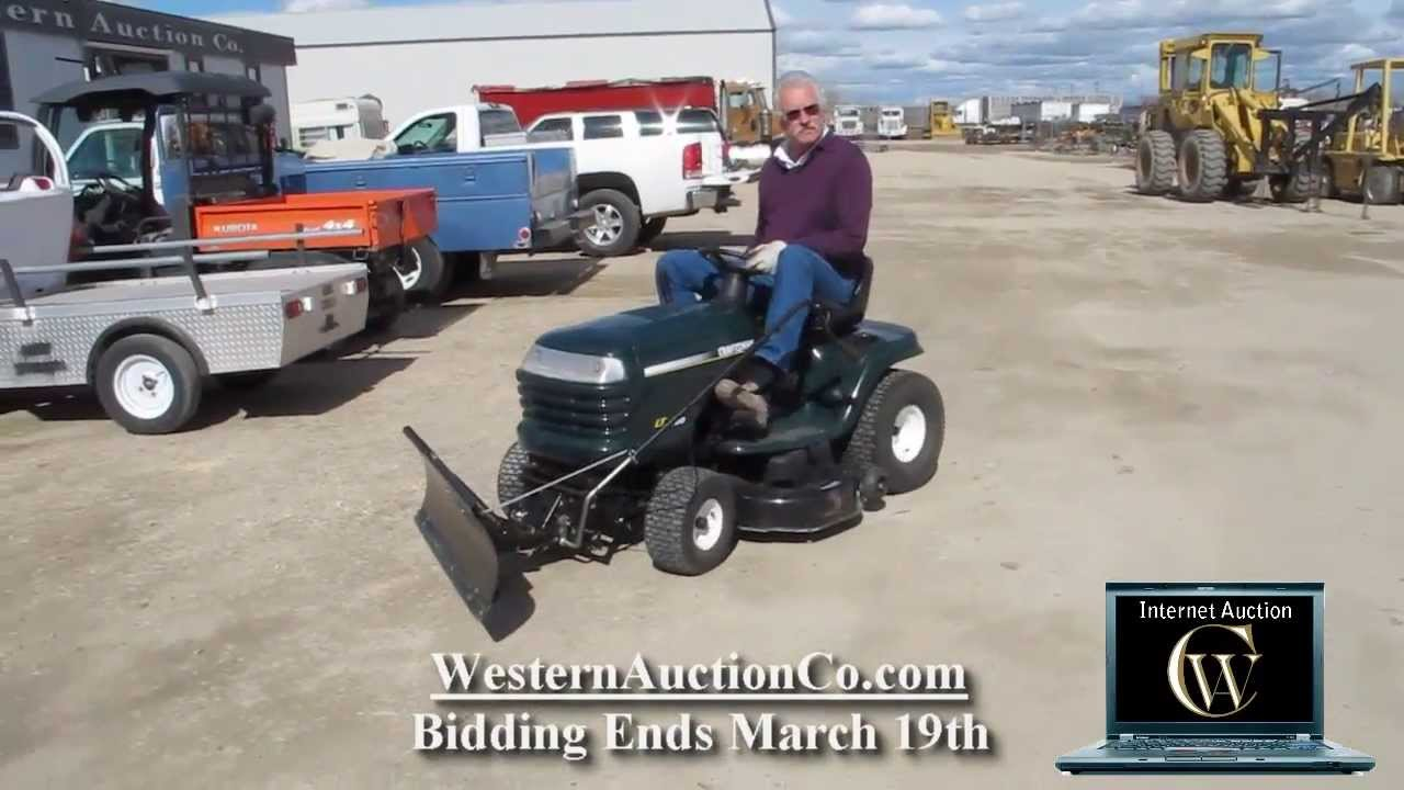 Lot 130 Craftsman Lt1000 Gas Riding Mower And Snow Plow